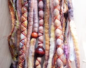 10 Custom Clip In or Braid In Dreadlock Extensions Color Mix: Autumn Harvest Boho Tie Dye Wool Synthetic Dreads Hair Wraps and Beads