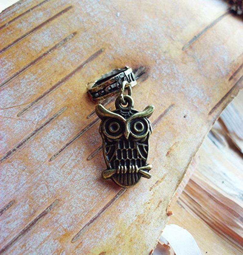 Antiqued Brass Owl Dreadlock Accessory image 0