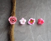 Antiqued Brass Shades of Pinks Flower Dreadlock Accessory