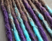 10 Custom Crocheted Clip In or Braid In Dreadlock Extensions Synthetic Hair Boho Dreads (Ombre)