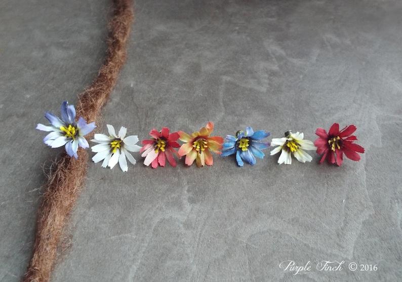Antique Brass Daisy Flower Dangle Dreadlock Accessory image 0