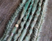 6 Clip In or Braid In Dreadlock Extensions with Messy Fishtail Braids Custom Synthetic Hair Boho Dreads Hair Wraps & Beads