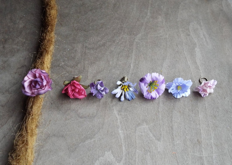 Antiques Brass Shades of Purple Flower Dreadlock Accessory image 0