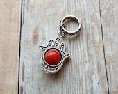 Silver Tone Small Red Hamsa Palm Dreadlock Accessory