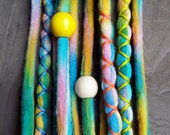 10 Custom Clip In or Braid In Dreadlock Extensions Color Mix: Candy Coated Boho Tie Dye Wool Synthetic Dreads Hair Wraps and Beads
