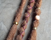 3 Custom Clip In or Braid In  Dreadlock Extensions Standard Synthetic Hair Boho Dreads Hair Wraps & Bead (Strawberry 30)