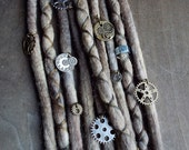 10 Custom Clip In or Braid In Dreadlock Extensions Color Mix: Industrial Steampunk Boho Tie Dye Wool Synthetic Dreads Hair Wraps and Beads