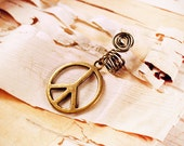 Antiques Brass Peace Sign Dreadlock Accessory