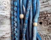 10 Custom Clip In or Braid In Dreadlock Extensions Color Mix: Tide Boho Tie Dye Wool Synthetic Dreads Hair Wraps and Beads