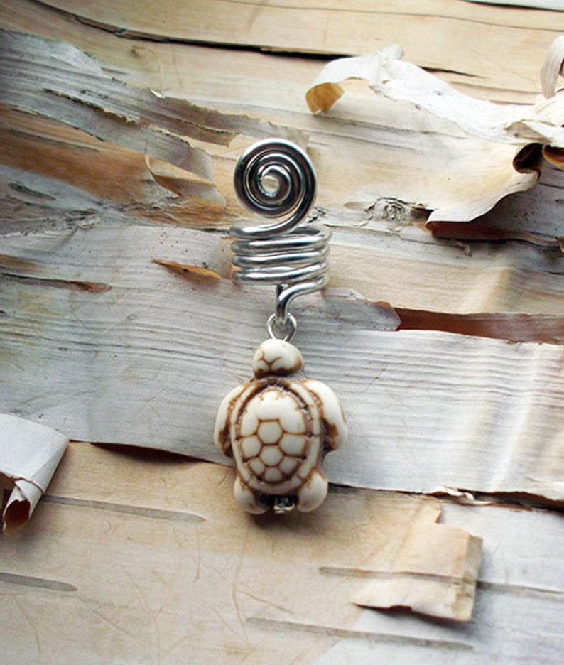 Silver Tone White Bone Colored Turtle Dreadlock Accessory image 0