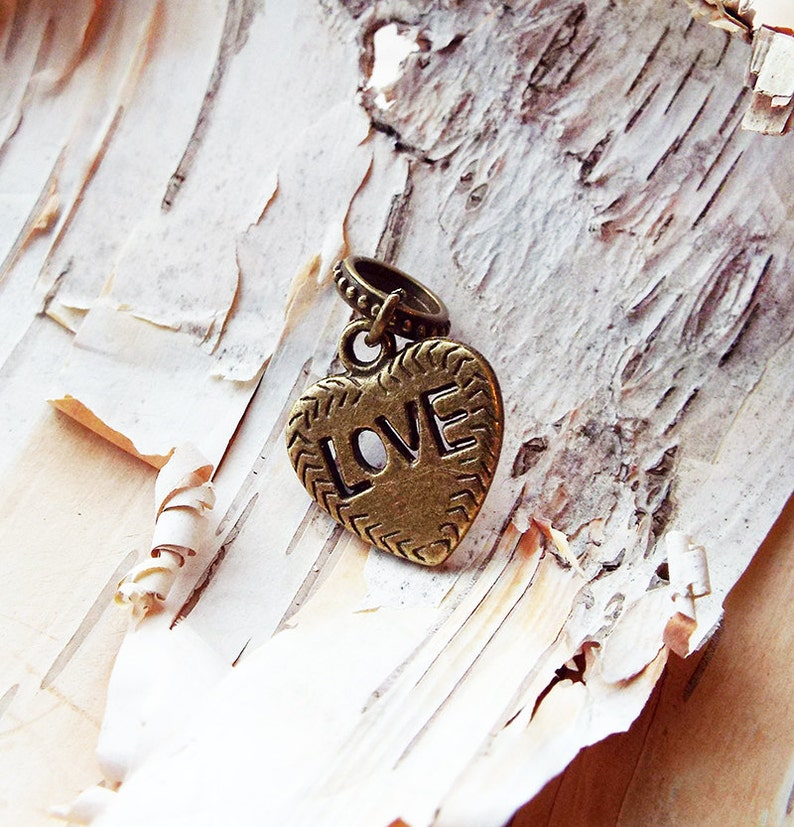 Antiques Brass Love Charm ADD to your DREADS Dreadlock image 0