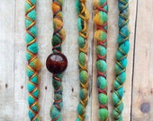 5 Custom Clip In or Braid In Dreadlock Extensions Color Mix: Turquoise Dream Boho Tie-Dye Wool Synthetic Dreads Hair Wraps and Beads