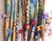 10 Custom Clip In or Braid In Dreadlock Extensions Color Mix: Lucky Clover Boho Tie-Dye Wool Synthetic Dreads Hair Wraps and Beads
