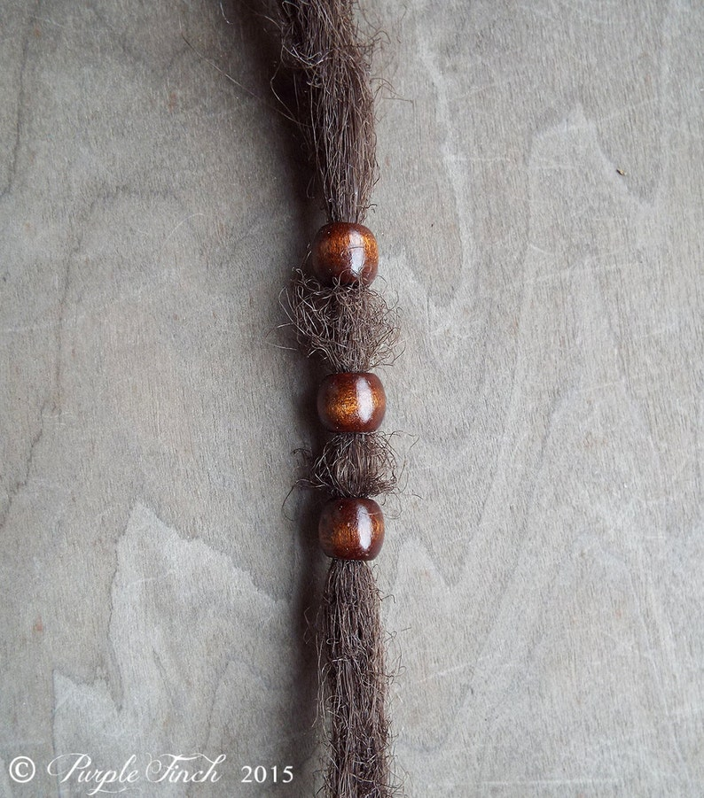 3 Small Warm Brown Wood Dread Beads image 0