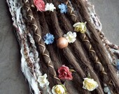 10 Custom Clip In or Braid In Dreadlock Extensions Standard Synthetic Hair Flower Boho Dreads (Light Brown 12)