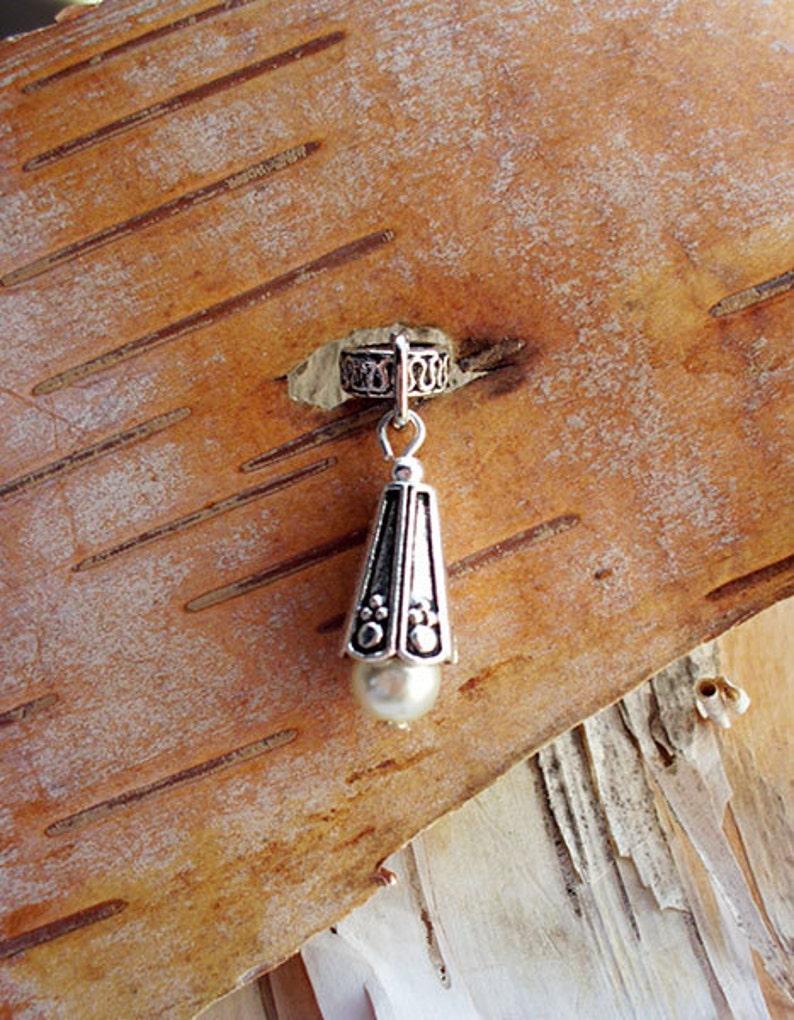 Silver Tone Pearl Dreadlock Accessory image 0