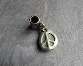Antiqued Brass Peace Pendant Dreadlock Accessory