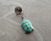 Antiques Brass Turquoise Buddha Head Charm Bead Dreadlock Accessory