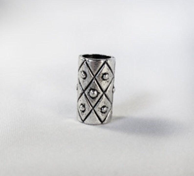 Silver Tone Diamond Harlequin Dreadlock Bead Accessory image 0