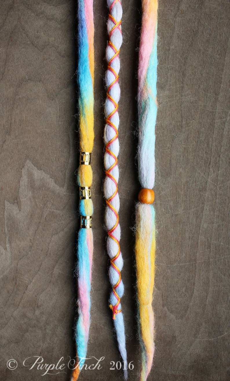 3 Tie-Dye 14-16 READY to SHIP Clip-In Wool Dreads image 0