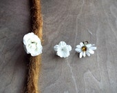 Shades of White Flower Dangle Charm Bead Antiqued Brass  Dreadlock Accessory Extension Accessories Dread Boho Bohemian Hippie
