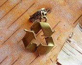 Recycle Symbol Antiqued Brass ADD to your DREADS Dreadlock Accessory Extension Accessories Dread Boho Bohemian Hippie Bead