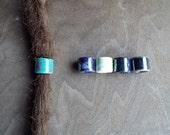 Cool Tones Picasso Firepolished Ceramic Dread Bead Dreadlock Accessory Extension Accessories Dread Boho Bohemian Hippie Bead