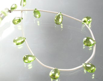 "8"" strand AA Peridot Faceted Pear Briolettes"