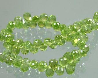AA Peridot Faceted Briolette Drops 5-6mm