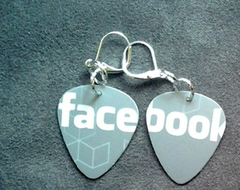 Guitar Pick Facebook Earrings