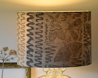 Moths Plant-Dyed Block Printed Lampshade