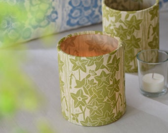 Nicotiana Plant Dyed + Block Printed Candle Tea Light Cover