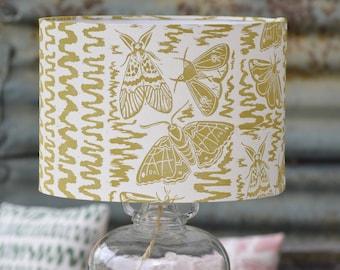 Moths + Squiggles Block Printed Lampshade