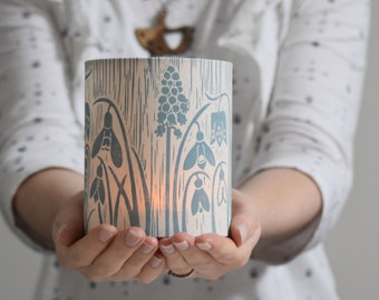 Spring Flowers Lantern Block Printed By Hand - Gift