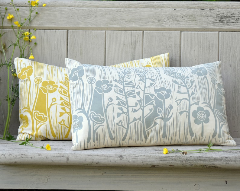 Summer Meadow Block Printed Cushion image 0