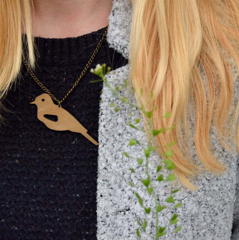 Jay  Wooden Pendant Necklace image 0