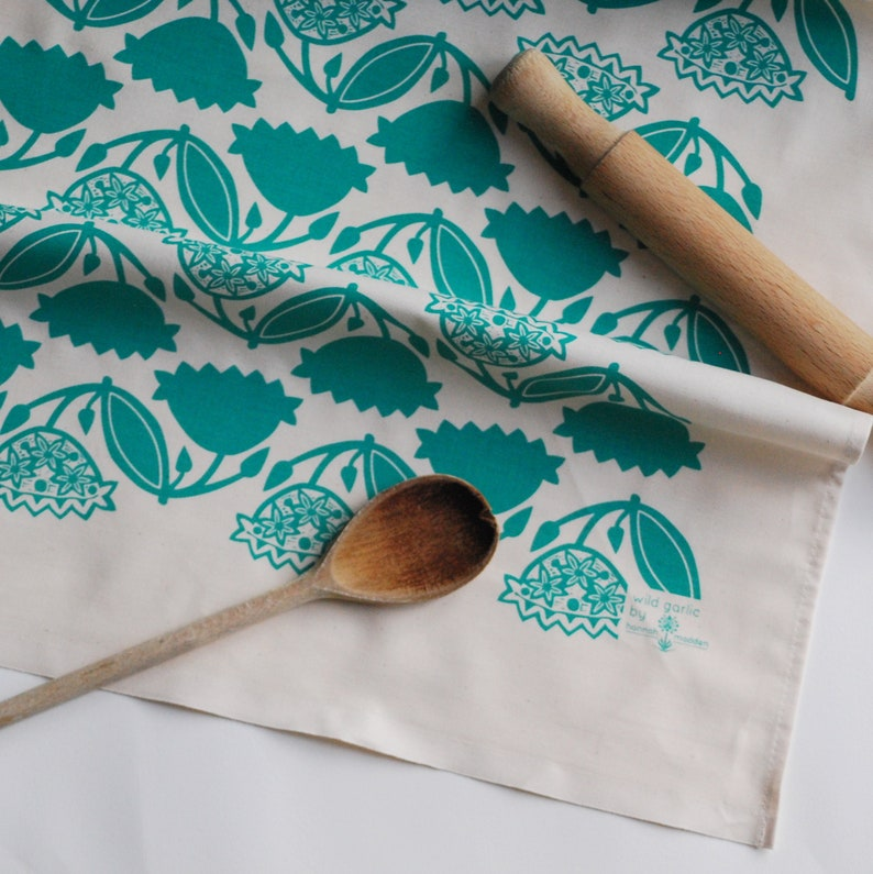 Wild Garlic Screen Printed Cotton Tea Towels  2 Pack image 0