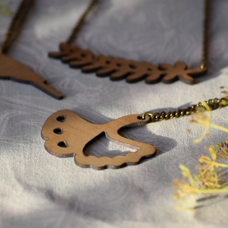 Ginkgo  Wooden Pendant Necklace image 0