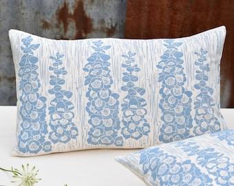 Blue Foxglove Block Printed Cushion
