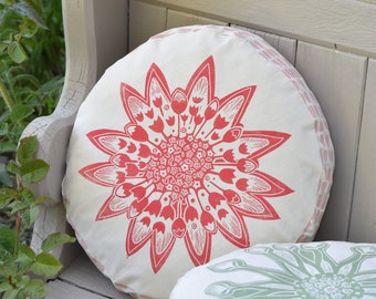 Round Floral Cushion Astrantia - Printed By Hand