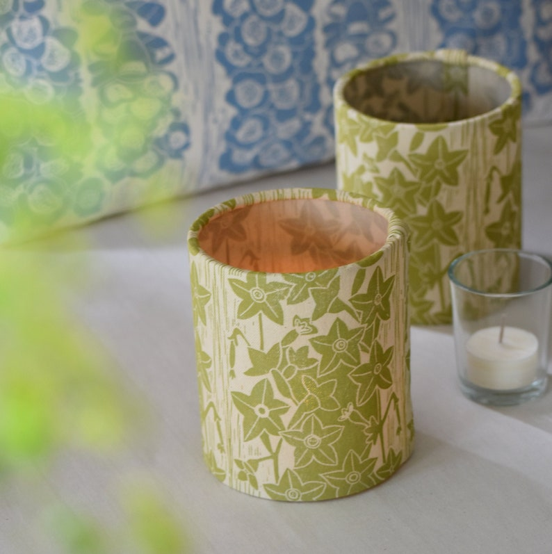Nicotiana Plant Dyed  Block Printed Candle Tea Light Cover image 0