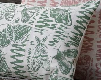 Moths + Squiggles Block Printed Cushion