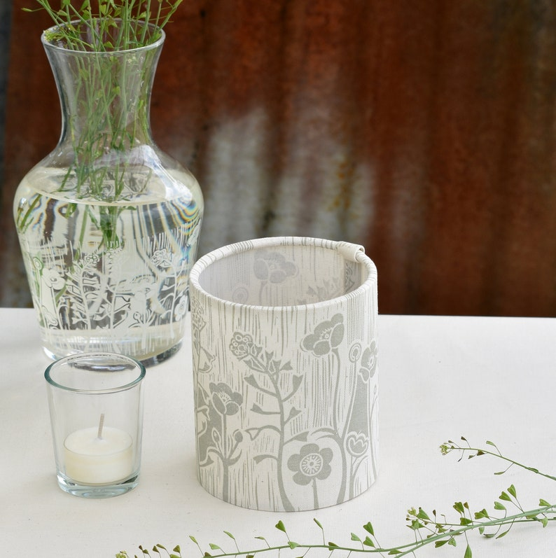 Summer Meadow Candle Tea Light Cover Block Printed By Hand image 0