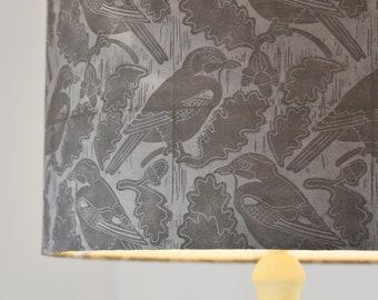 Jays & Acorns - Plant-Dyed + Block Printed Lampshade