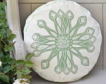 Round Floral Cushion Osteospermum - Printed By Hand