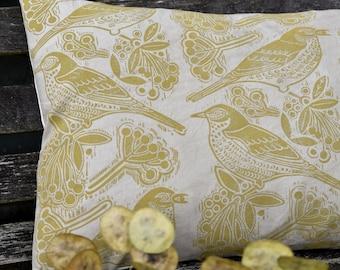 Fieldfares Botanically Dyed + Handprinted Bolster Cushion