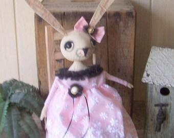 Primitive White Bunny Art Doll Rabbit Shabby Cottage Chic Dressy Easter Debutante Pink Black Organza Batiste Tulle Netting   OFG HAFAIR FAAP