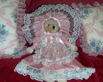 Primitive Shabby Cottage Chic Victorian Dressed Bear Doll ofg pafa hafair wsoapp ab4b