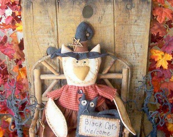 """PriMiTiVe Halloween Owl Witch Art Doll Pet Black Cat Welcome """"Hooty and Boo"""" Hafair Faap OFG"""