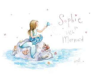 Pretty Personalised mermaid name art, nursery art, kids room art print, little mermaid,glitter,sparkly